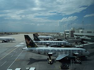 Row of Frontier Airplanes at Denver Internatio...